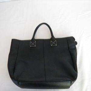 Gap Women's Tote Black Leather Polka Dot Lining